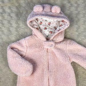 Carter's Baby Bunting Snowsuit Bear Pink 6M Sherpa
